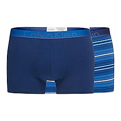 Calvin Klein - Pack of two blue plain and striped trunks