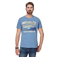 Mantaray - Big and tall blue 'surfing movie' print t-shirt