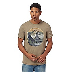 Mantaray - Big and tall khaki festival print t-shirt