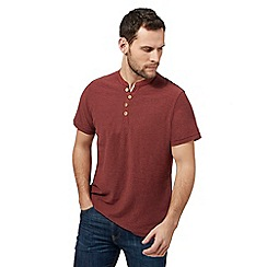 Mantaray - Dark red Y neck t-shirt