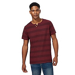 Mantaray - Big and tall dark red block striped notch neck top