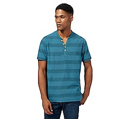 Mantaray - Big and tall turquoise block striped y neck top