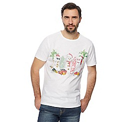 Mantaray - Big and tall white snowman surfer print t-shirt