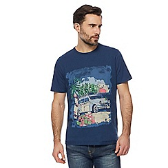Mantaray - Blue Christmas campervan print t-shirt