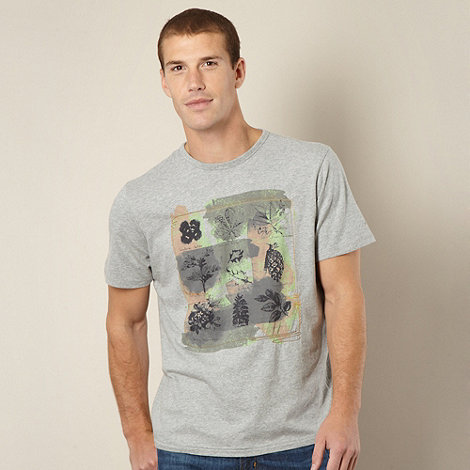 Mantaray - Light grey leaf t-shirt