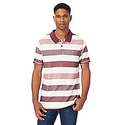 Mantaray - Big and tall dark pink block striped polo shirt