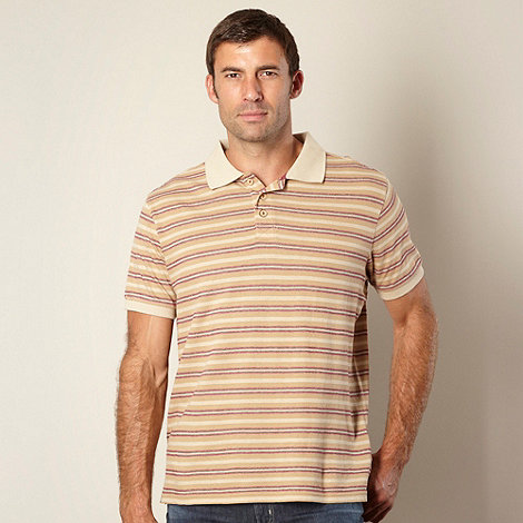 Mantaray - Light brown textured striped polo shirt