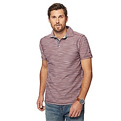 Mantaray - Big and tall dark red birdseye textured polo shirt