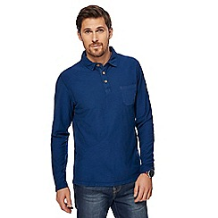 Mantaray - Navy long sleeve vintage wash polo shirt