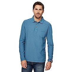 Mantaray - Big and tall blue long sleeve vintage wash polo shirt