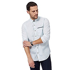 Mantaray - White and light blue textured dotted shirt