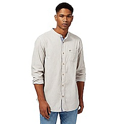Mantaray - Big and tall light brown broken striped granddad collar shirt