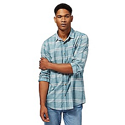 Mantaray - Dark turquoise dobby checked shirt