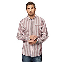 Mantaray - Big and tall dark red dobby striped shirt