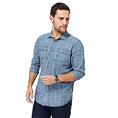 Mantaray - Blue textured window pane shirt