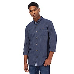 Mantaray - Big and tall navy herringbone shirt