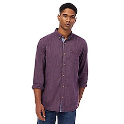 Mantaray - Big and tall wine red long sleeve herringbone shirt