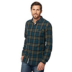 Mantaray - Big and tall green twill check shirt