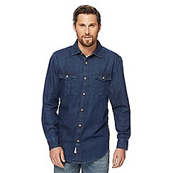 Mantaray - Big and tall blue dark wash denim shirt