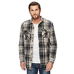 Mantaray - Big and tall dark grey checked shirt jacket