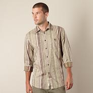 Light brown tiled striped shirt