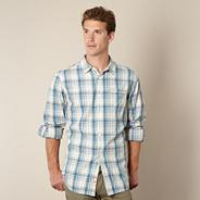 Big and tall blue multi tonal checked long sleeved shirt
