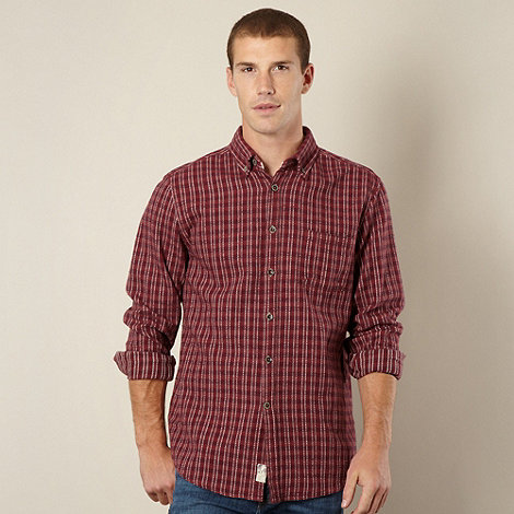 Mantaray - Dark red basket weave shirt