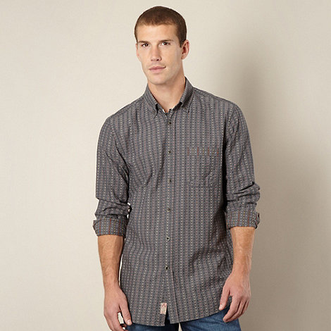 Mantaray - Big and tall grey jacquard casual shirt