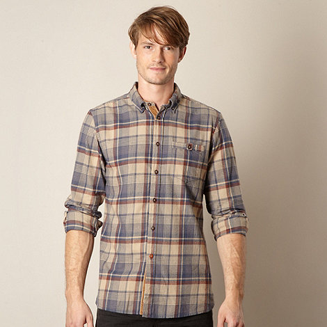 Mantaray - Brown checked button down collar shirt