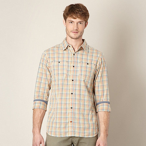 Mantaray - Orange multi checked two pocket shirt