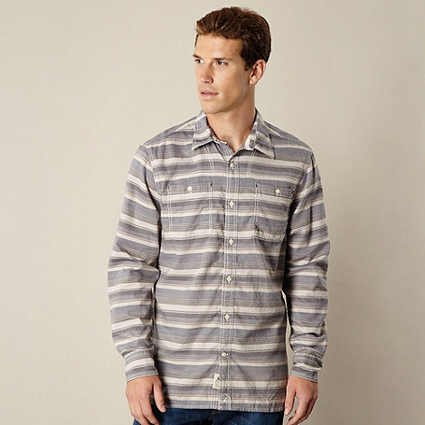 Mantaray - Blue herringbone striped shirt
