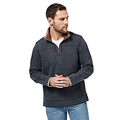 Mantaray - Big and tall navy pique zip funnel neck sweater