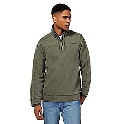 Mantaray - Big and tall khaki pique zip funnel neck sweater