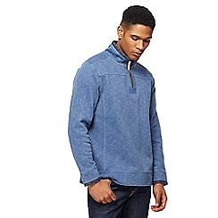 Mantaray - Blue pique zip funnel neck sweater