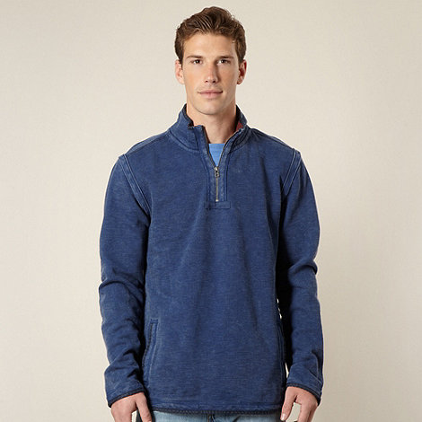 Mantaray - Big and tall blue pique funnel neck sweater