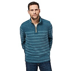 Mantaray - Big and tall turquoise striped zip neck pique sweater