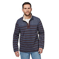 Mantaray - Blue striped zip neck pique sweater