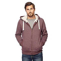 Mantaray - Wine red Borg lined zip through hoodie
