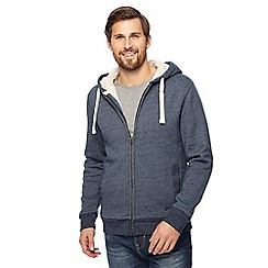 Mantaray - Navy Borg lined zip through hoodie