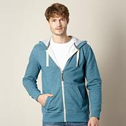 Dark turquoise textured zip through hoodie