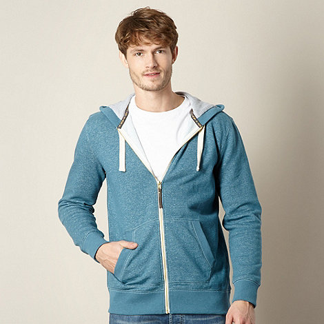Mantaray - Dark turquoise textured zip through hoodie