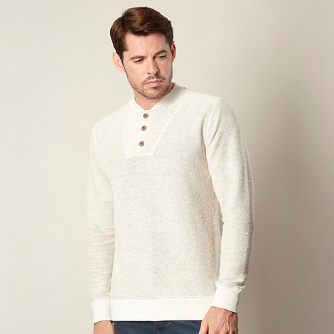 Mantaray - Natural textured button neck jumper