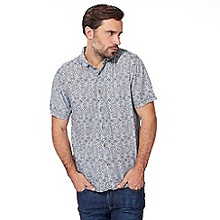Mantaray - Big and tall blue tile print short sleeve shirt