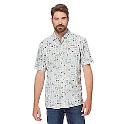 Mantaray - Big and tall white and blue printed short-sleeved shirt
