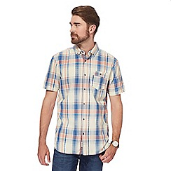 Mantaray - Blue large textured checked short-sleeved shirt
