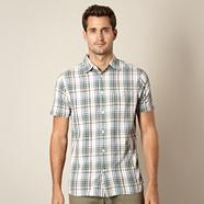 Big and tall green embroidered check shirt