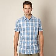 Blue embroidered check shirt