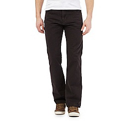 Mantaray - Dark brown straight leg textured trousers