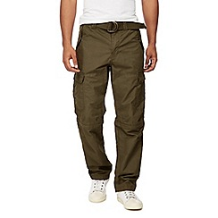 Mantaray - Big and tall khaki cargo zip off leg trousers