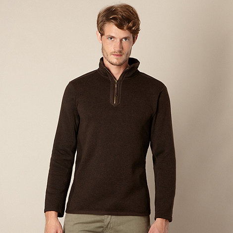Mantaray - Big and tall brown zip neck pull over